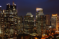 Night view of office buildings and skyscrapers along Jalan Jend Sudirman, Jakarta - Martin Westlake