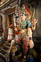 Singapore,Little India,Sri Veerama-kaliamman Hindu Temple,Statue of Lakshmi - Travelasia