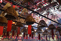 Incense hanging from ceiling in Man Mo temple, Hong Kong - Alex Mares-Manton