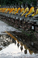 Stone Buddhas in a row reflecting in water, Wat Yai Chaya Mongkol - Alex Mares-Manton