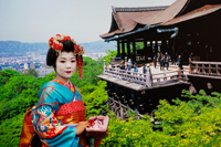 Geisha wearing a Kimono Posing in front of a Picture of Kiyomizu Temple. Kyoto, Japan - Travelasia