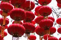 Hanging red lanterns in YuYuan Gardens, Shanghai, China - Alex Mares-Manton