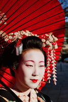 Head shot of Geisha with red umbrella - Travelasia