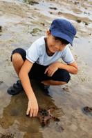 Young boy touching starfish in tide pool - Yukmin