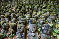 Otagi Nembutsu-ji Temple, Carved Stone Figures of Rakan, Disciples of Shaka the founder of Buddhism. - Travelasia