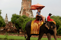 tourist riding a elephant in front of stone Wat at Ayutthaya, Thailand - Alex Mares-Manton