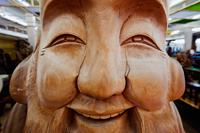 Wooden Carving of Fukurokuju, One of the Seven Gods of Fortune.  Japan, Miyajima Island, - Travelasia