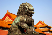 Palace Museum or Forbidden City,Bronze Lion Statue in Front of the Gate of Supreme Harmony. Beijing, China - Travelasia