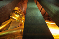 Close up of gold reclining Buddha at Wat Pho Temple, Thailand - Alex Mares-Manton