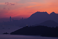 City Skyline View from Lantau Island at Dawn, Hong Kong, China - Travelasia