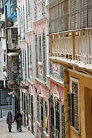 Portugese Colonial Architecture on street in Macau, China - Travelasia