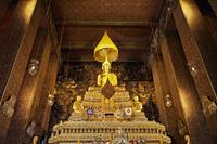 Gold Buddha statue in the main chapel, Wat Pho, Bangkok, Thailand - Travelasia