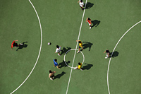 Aerial view of men playing soccer - Yukmin