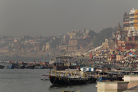 Boats on the Ghats of Varanasi on the Ganges River, India - Alex Mares-Manton