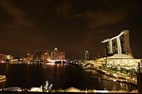 View of the buildings surrounding Marina Bay at night, Singapore - Yukmin