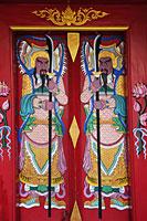 Wat Pratumkhongkha,Chinese Temple Doorway Guardians, Chinatown, Bangkok, Thailand - Travelasia