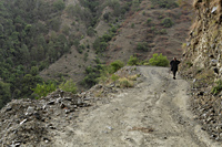 Older man walking on dirt road. Himalayan mountains, India - Alex Mares-Manton