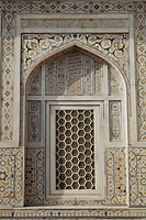 "Window detail with inlaid stones and screen. Itmad-ud-Daulah's Tomb ""Baby Taj"", Agra, India - Alex Mares-Manton"
