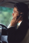 Male executive talking on cellular phone in car, profile - Alex Microstock02