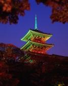 Japan, Kyoto, Kiyomizu-dera Pagoda at night - Rex Butcher