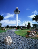 Singapore, Changi Airport, garden with control tower - Rex Butcher