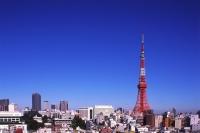 Japan, Tokyo, Tokyo Tower with 'urban sprawl' in foreground - Rex Butcher