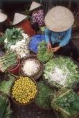 Vietnam, Danang, vegetables seller along Thu Bon River at Ho Ann. - Steve Raymer