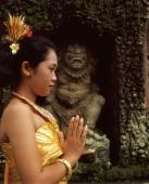 Indonesia, Bali, Balinese dancer in traditional costume, upper torso - Jack Hollingsworth