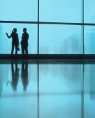 Silhouette of male and female executives by large window, skyline outside. - Jack Hollingsworth
