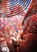 China, Hong Kong, Mid-levels, Hollywood Road, Man Mo Temple, incense coils - Rex Butcher