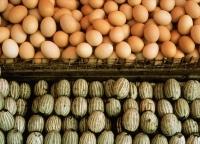 China, Hong Kong, Regular eggs (top) and century eggs - Rex Butcher