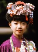 Japan, Seven year old girl in kimono at Shichi-Go-San (7-5-3) Festival (November) - Rex Butcher