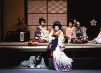 Japan, Kabuki performed by Chikamatsu-za theater troupe entitled 'Love Suicides at Sonezaki' (Sonezaki Shinju) with Nakamura Ganjiro III - Rex Butcher