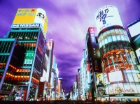 Japan, Tokyo, Ginza, Neon lights and buildings of Ginza at dusk - Rex Butcher