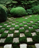 Japan, Kyoto, Chequered pattern garden at Tofuku-ji Temple - Rex Butcher