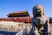 China, Beijing, Stone lion in front of Tiananmen Gate - Gareth Jones