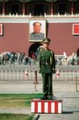 China, Beijing, Chinese soldier on guard duty in Tiananmen Square - Gareth Jones