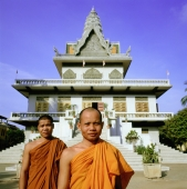 Cambodia, Phnom Penh, Monks at Wat Ounalom - Gareth Jones