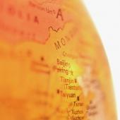 Orange Globe, focus on Beijing, China, close up - Gareth Brown