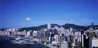Hong Kong, Wanchai, View of Wanchai North showing the Hong Kong Convention and Exhibition Centre, and Central Plaza. - Gareth Jones