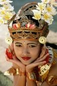 Indonesia, Bali, Young Balinese dancer in legong costume - Jill Gocher