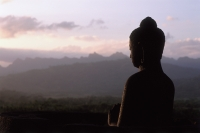 Indonesia, Java, Buddha figure at Borobudur temple at dawn, silhouette, mountains in background - Jill Gocher