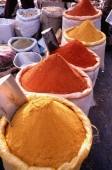 India, Delhi, Assortment of spices for sale at a spice market - Jill Gocher