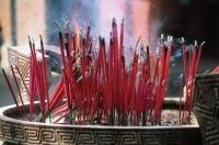 Malaysia, Penang, Joss sticks in temple urn - Jill Gocher