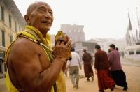 Nepal, Boudhanath, prostrator making his rounds - Jill Gocher