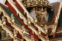 Thailand, Bangkok, Wat Phra Kaew, Roof details of temple. - James Marshall