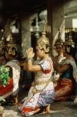 Thailand, Bangkok, Erawan Shrine, Traditional Thai dancers in full costume. - James Marshall