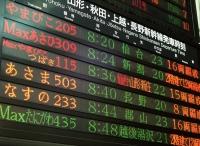 Japan, Tokyo, Tokyo Station , Shinkansen (bullet train) departure information board - Rex Butcher