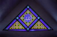 Malaysia, Kuala Lumpur, the word Allah inscribed in Arabic calligraphy in windows of the Masjid Ne - Steve Raymer