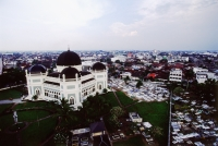 Indonesia, Sumatra, Medan, Great Mosque and surrounding city. - Steve Raymer
